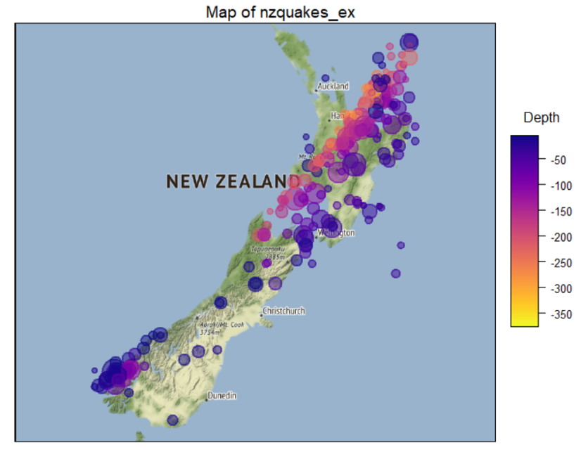 NZ quakes in 2000 on map