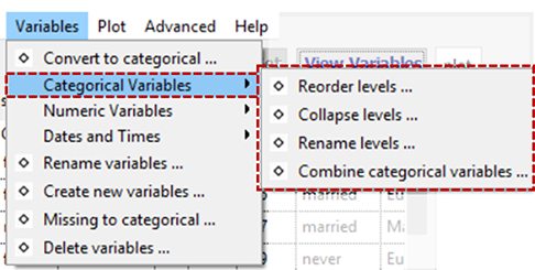 Manipulate Categorical Variables Menu