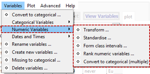 Manipulate Numeric Variables Menu